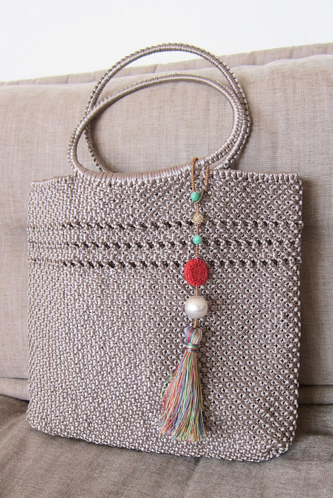 bag charm with bag beige 3