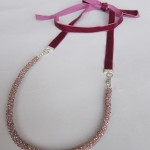 Crystal tube necklace with ribbon