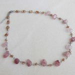 Necklace with strawberry quartz