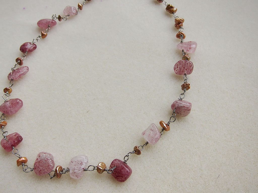 strawberry quartz necklace1