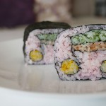 Creative sushi roll / music notes