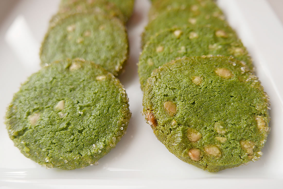 Green tea cookies with white chip chocolate