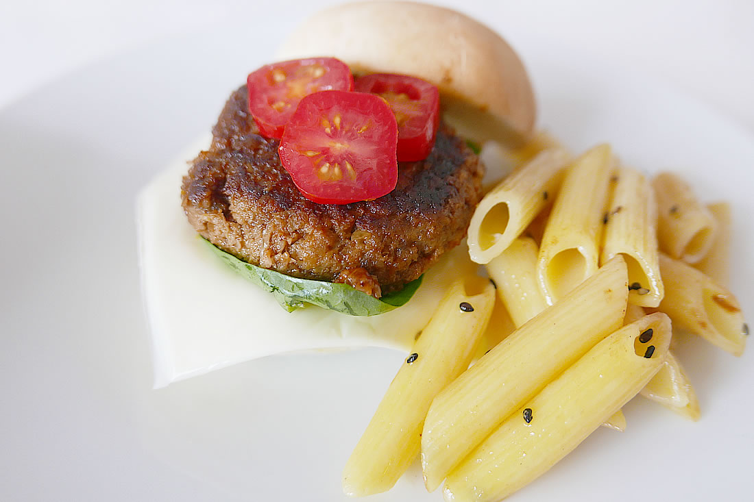 Hamburger patty with vegetable