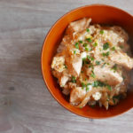 Oyako donburi – rice with wafu chicken and egg  sauce