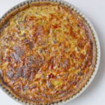 sesame quiche crust with beef and leek filling