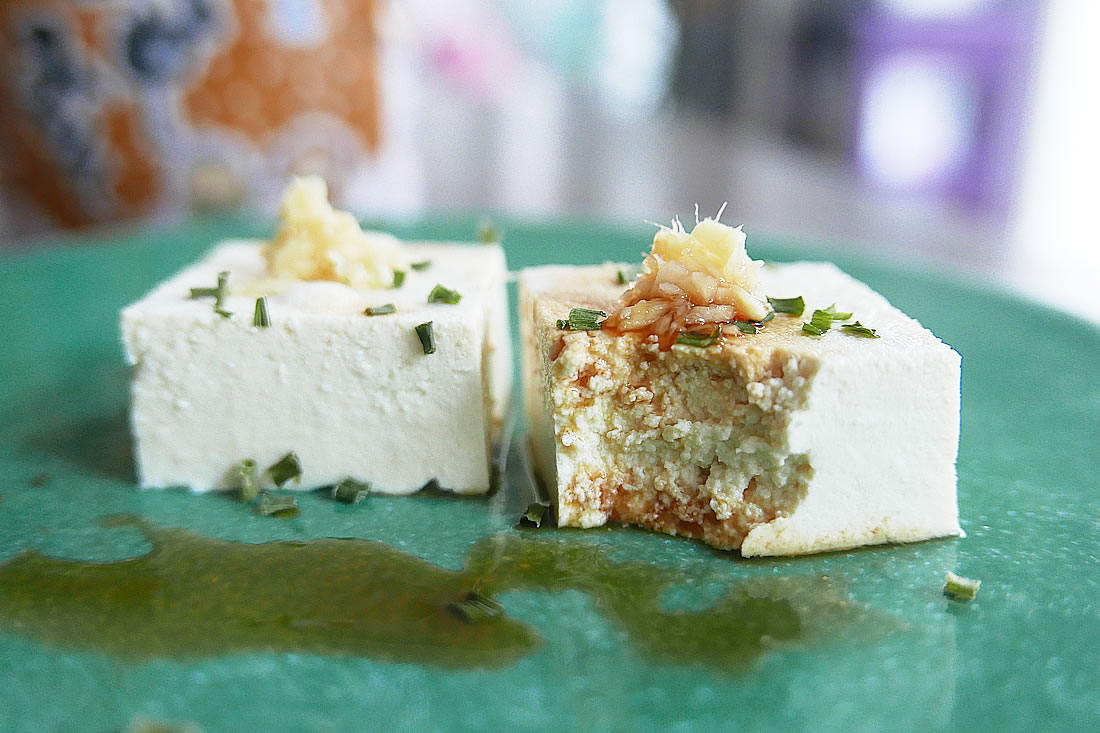 Handmade tofu from soy milk