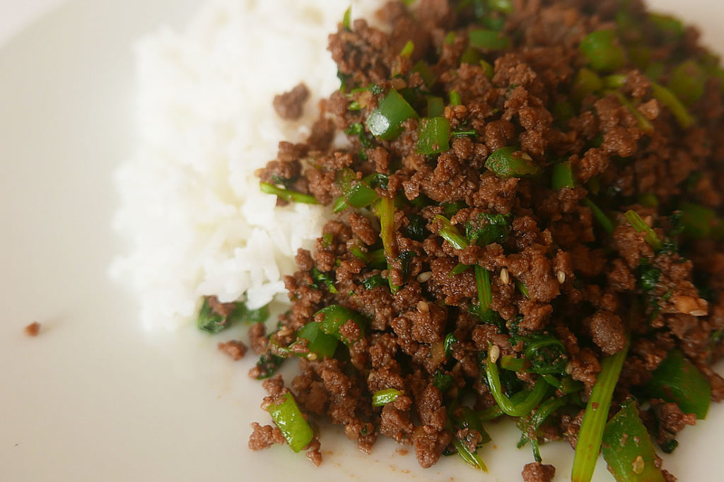 Thai beef rice bowls