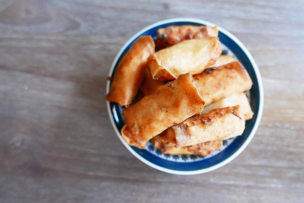 Korean chicken spring rolls