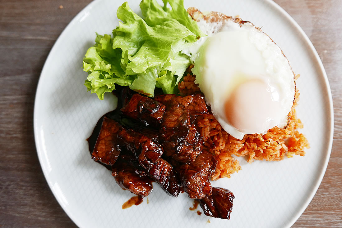 Lok Lak Beef with red rice