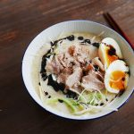Milky tonkotsu ramen with soy milk