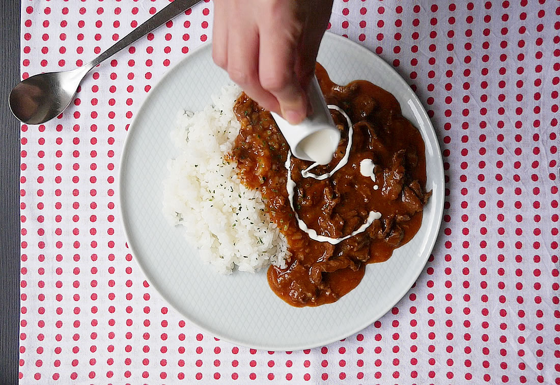 Hayashi rice with pressure cooker - Hashed beef with rice