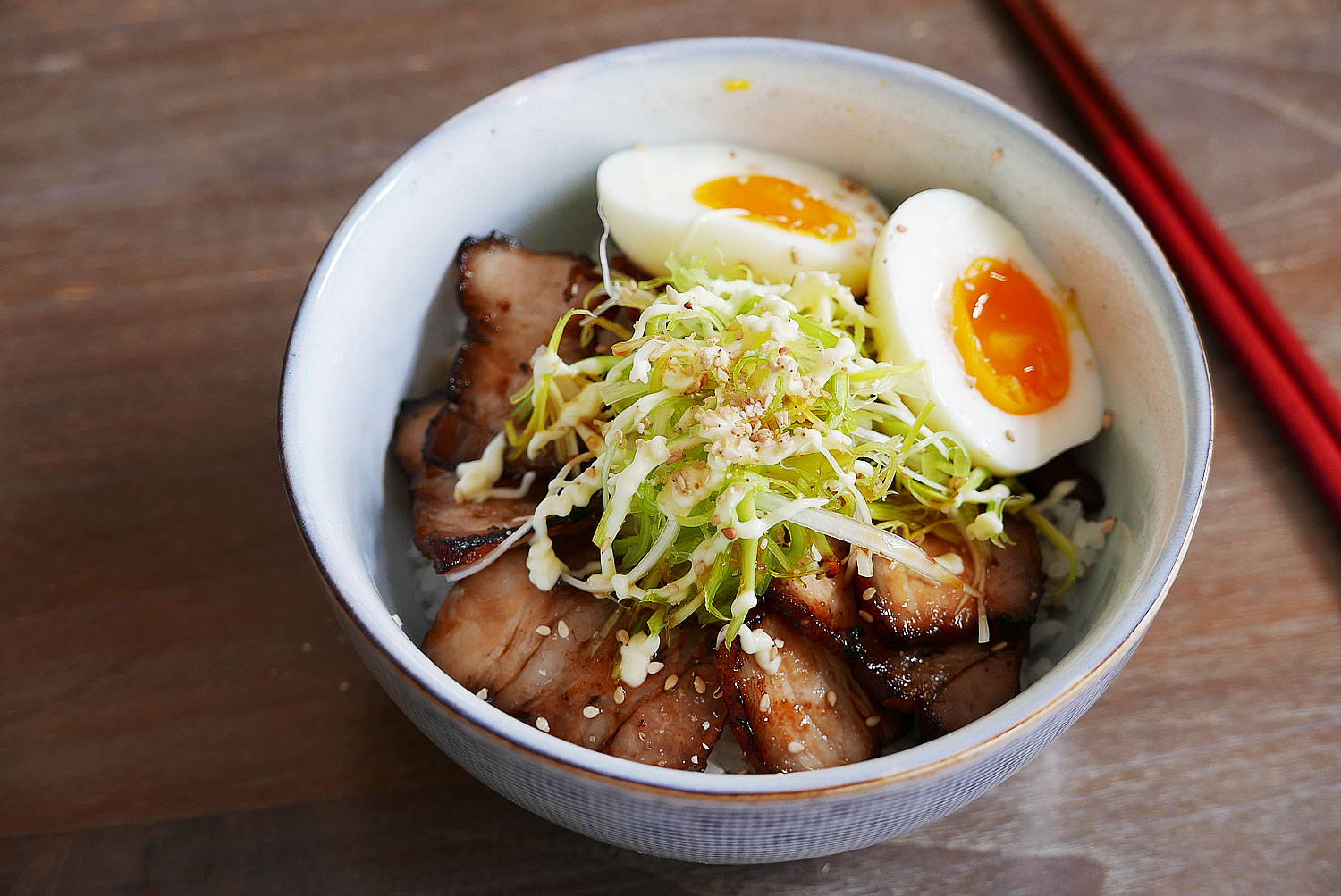 Char siu donburi Rice bowl